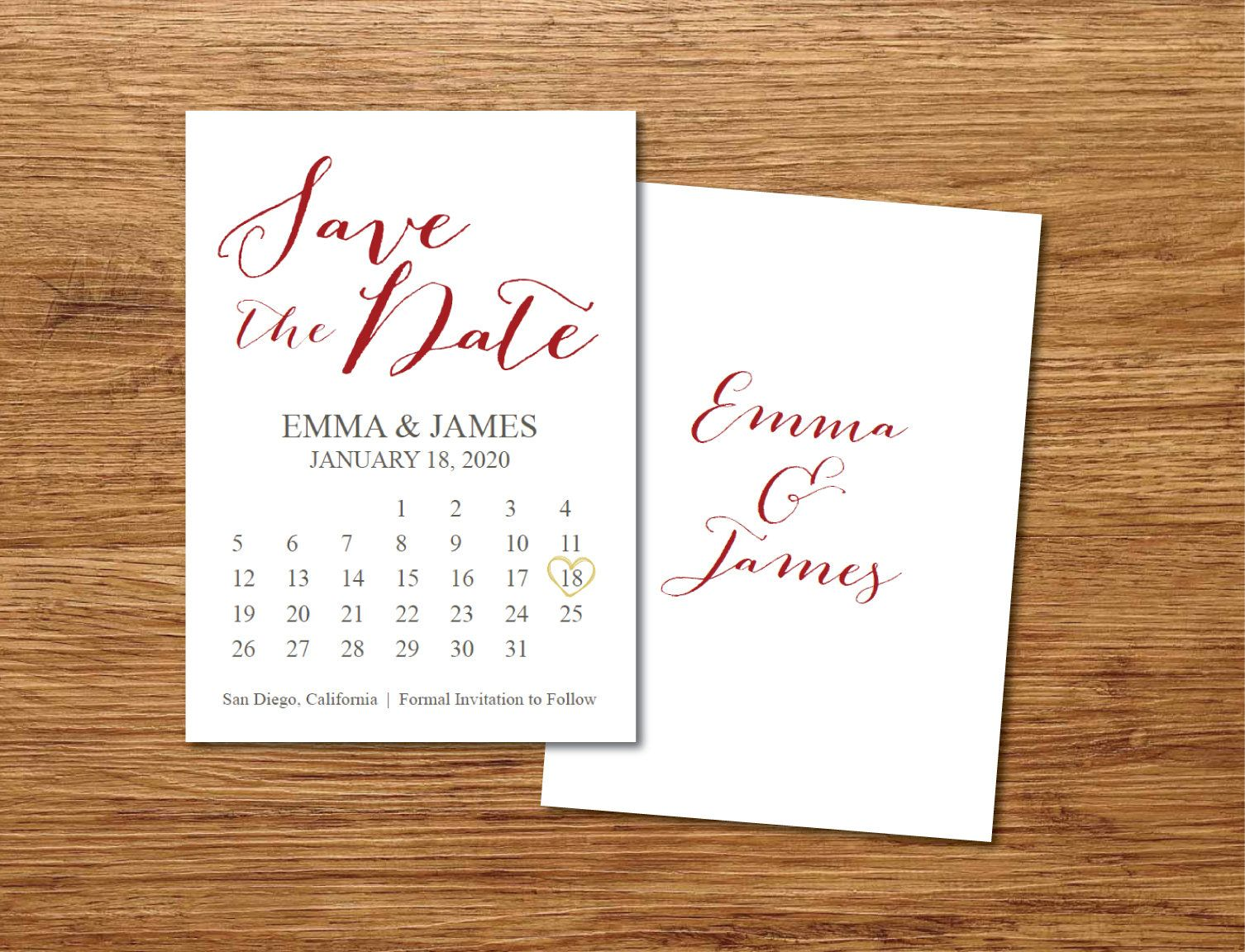 Save The Date Calendar Template Save The Date Postcard Etsy Save The Date Postcards Save The Date Cards Calendar Template