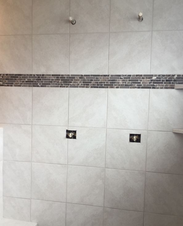 Level 1 Cannes Candido 12x12 Tile Installed Stacked Master Bath Shower Shower Bath Installation