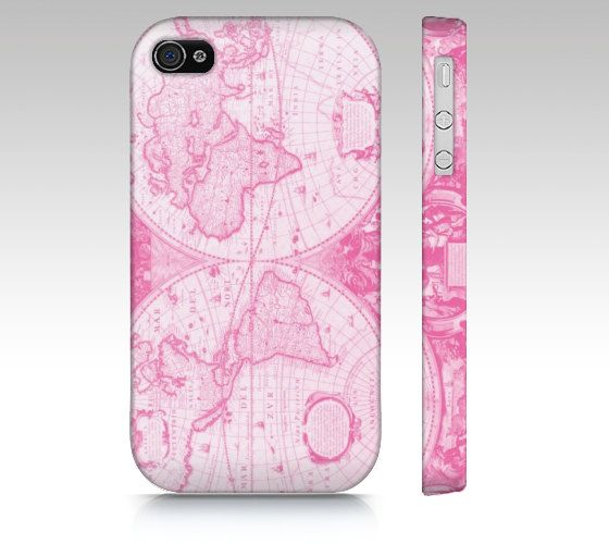 """Samsung Galaxy S3, iphone 4/4S, 5 - """"Antique Pink World"""" Pink World Map Phone Cases"""