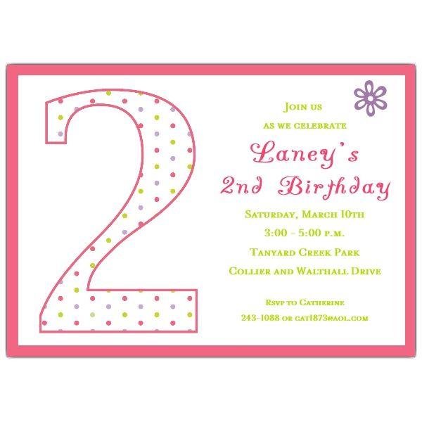 2nd Birthday Invitation Wording My Birthday Pinterest