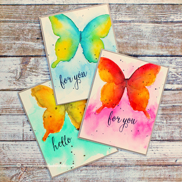 Wanda Guess: A Blog Called Wanda – Watercolor Butterflies! - 4/26/15. Tutorial included:  I started by making a mask/stencil from a large Memory Box Butterfly Die.  (Pin#1: Background + Watercolor +... Pin+: Butterflies....)