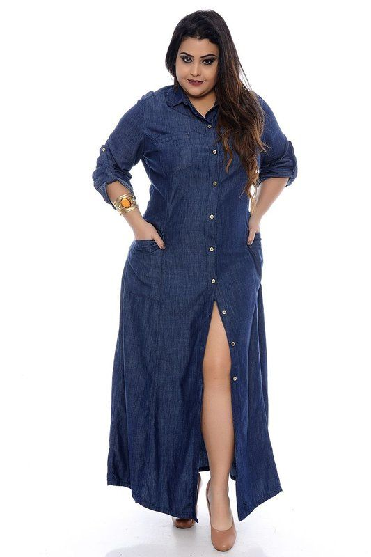 5242278fd6 DESCRIÇÃO Vestido Jeans Plus Size Alexandra. Vestido Longo Jeans ...