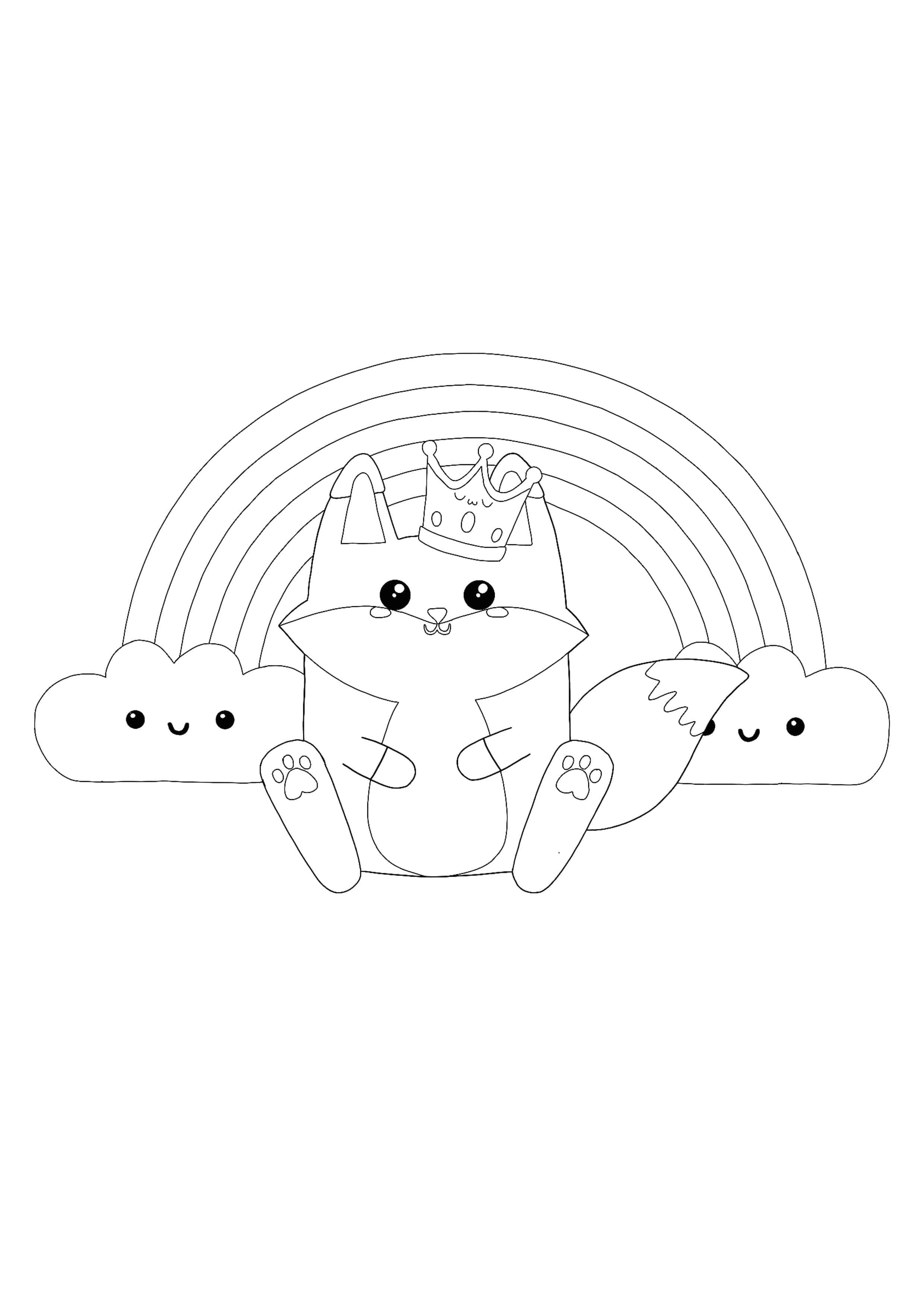 Kawaii Fox And Rainbow Coloring Page Manga Coloring Book Fox Coloring Page Cat Coloring Page