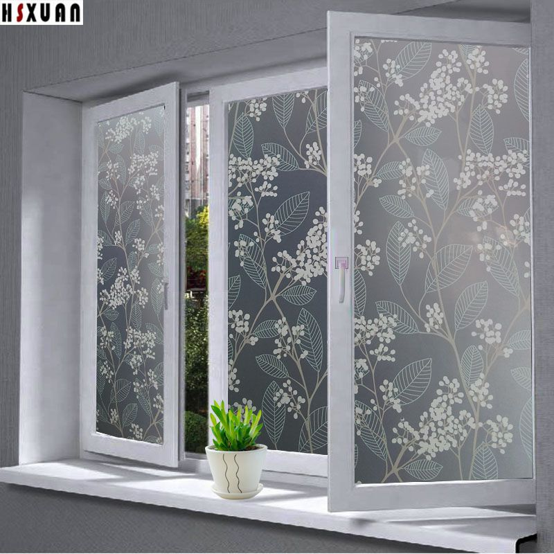 Decorative window privacy film 40x100cm decal countertop decor pvc self adhesive glue frosted window sticker hsxuan brand 403010
