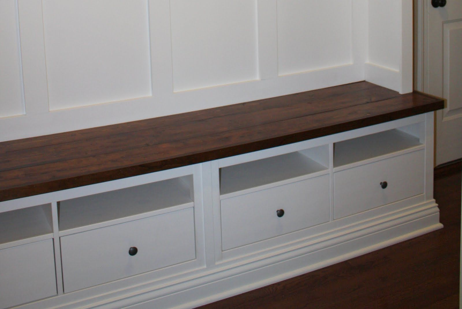 The Bench Is Made From Two Hemnes Tv Consoles From Ikea About 150 Each And Some Pine Boards St Mud Room Storage Mudroom Storage Bench Hallway Storage Bench