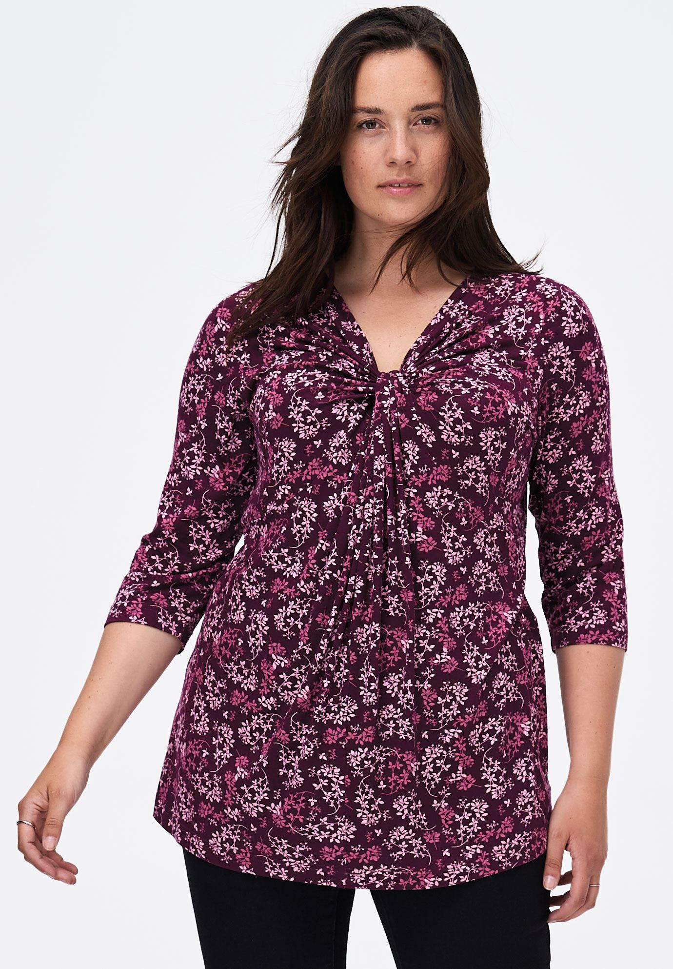 knot front 34 sleeve tunicellos®  plus size tops