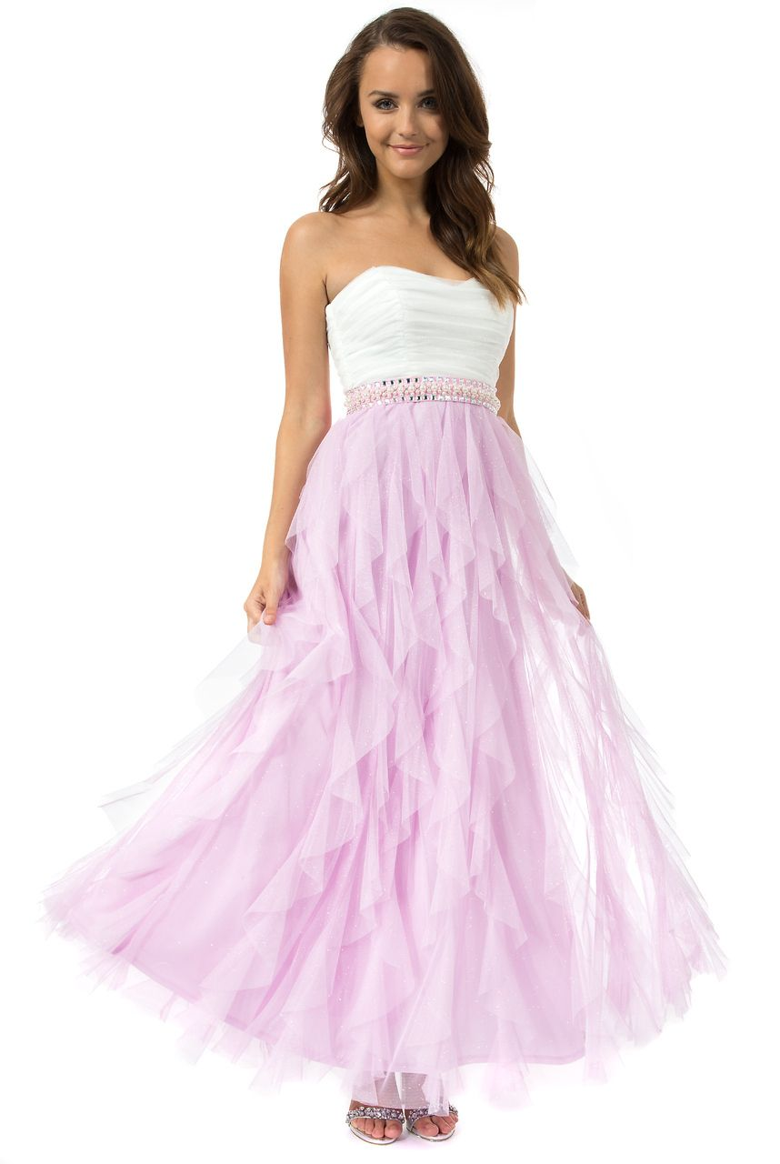 Teeze Me   Off White/Lilac Strapless Glitter Jewel Waist Long Petal ...