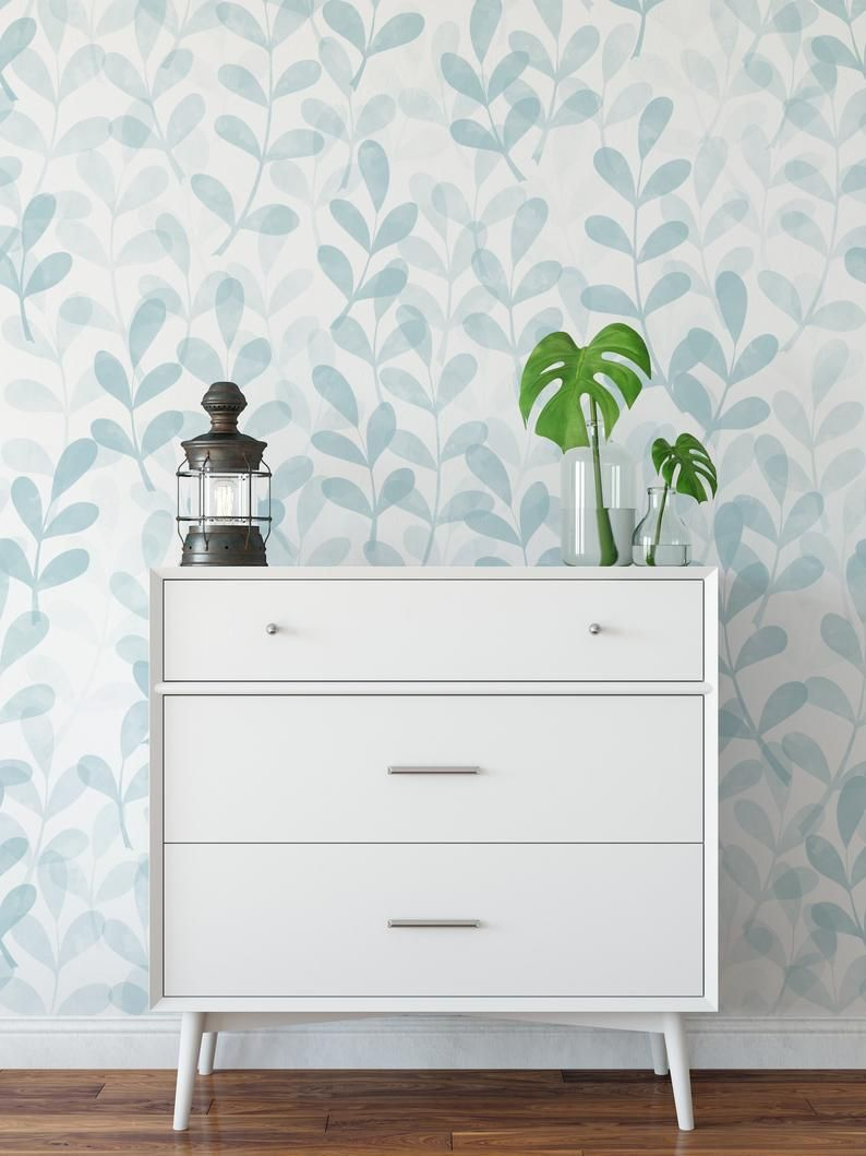 Minimal Floral Wallpaper Watercolor Blue Wallpaper Peel And Stick Wallpaper Removable Acc Minimal Furniture Blue Wallpapers Floral Wallpaper