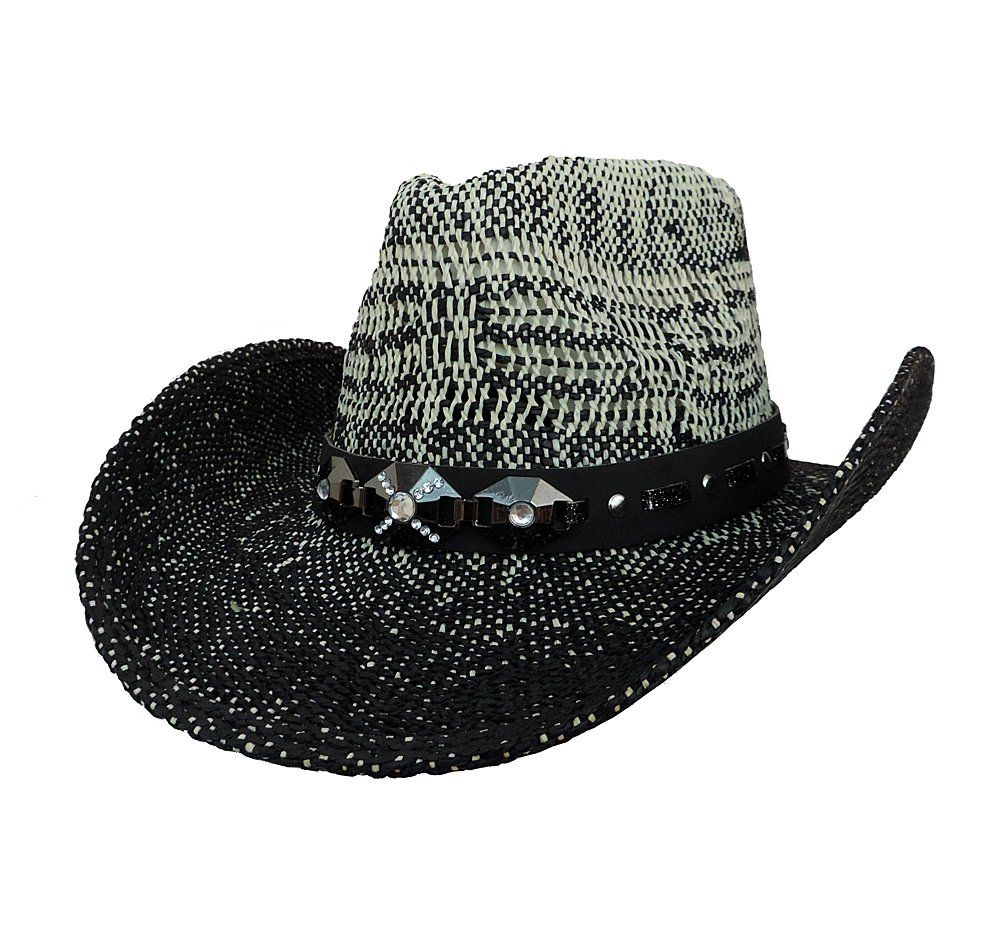 1cfb633bde0 Black   White Natural Straw Western Cowboy Hat w  Jewel Band. Natural Two  Tone Cowboy Straw Hat. Accented with a Black Jeweled Hat Band.