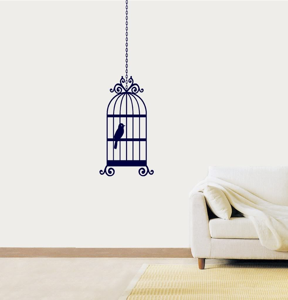 bird cage vinyl sticker wall art bedroom decal drawing pinterest