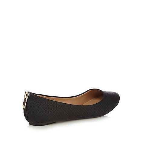 Call It Spring Black 'Brevia' snake skin textured rear zip flat shoes- |