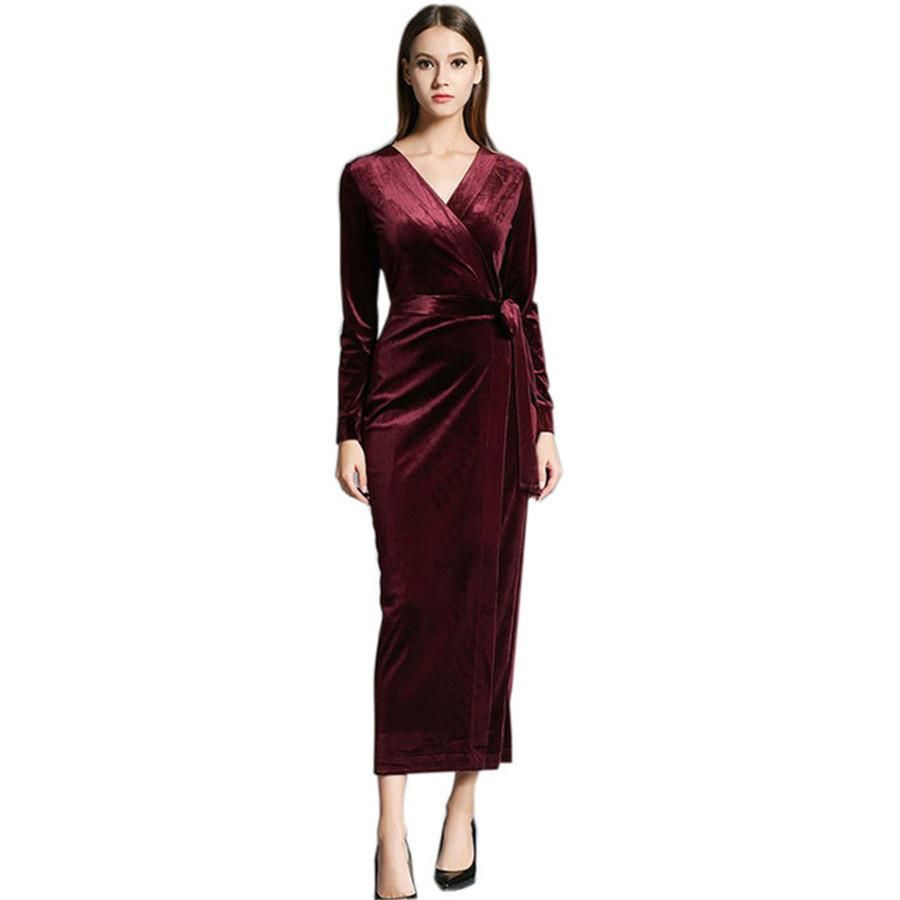 90642dca1d8125 2017 Autumn Winter Dresses Blue Red Velvet Dress For Women Vintage Sexy Evening  Party Dresses With Sashes Mid Calf Vestidos
