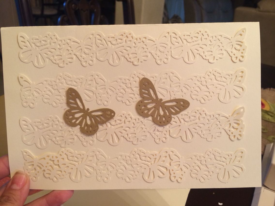 Wedding invitation butterfly theme, bought craft punch at Michaels ...