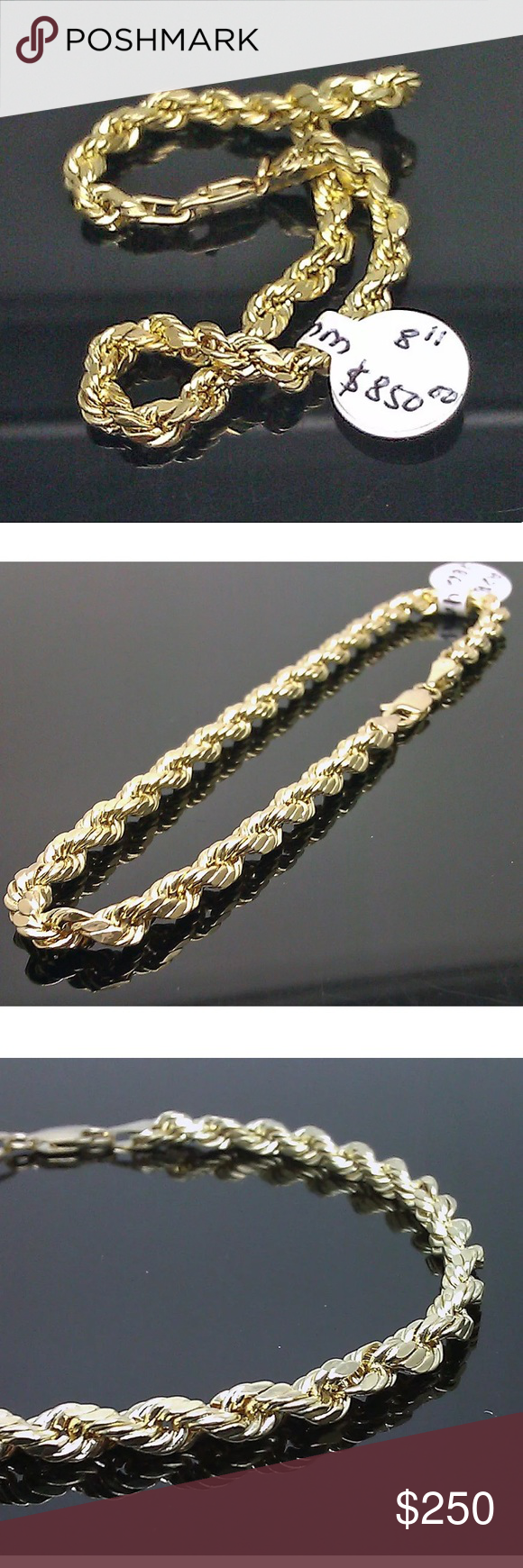 Nwt Real Gold Men S Thick Rope Bracelet 9 Inches Rope Bracelet Men Bracelets For Men Rope Bracelet