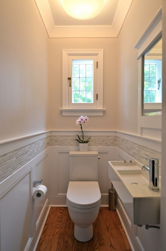 Half Bath Powder Room Traditional With Wall Mounted Faucet Wood