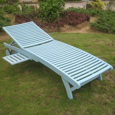 Chelsea Acacia Outdoor Chaise Lounge With Sliding Tray Tt Sl 032