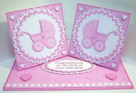 Baby Girl Twin Girls Double Twist Easel Card Kit in Card Gallery