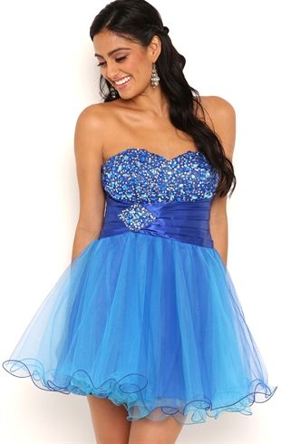 Strapless Short Cupcake Homecoming Dress with Chunky Stone Bodice ...