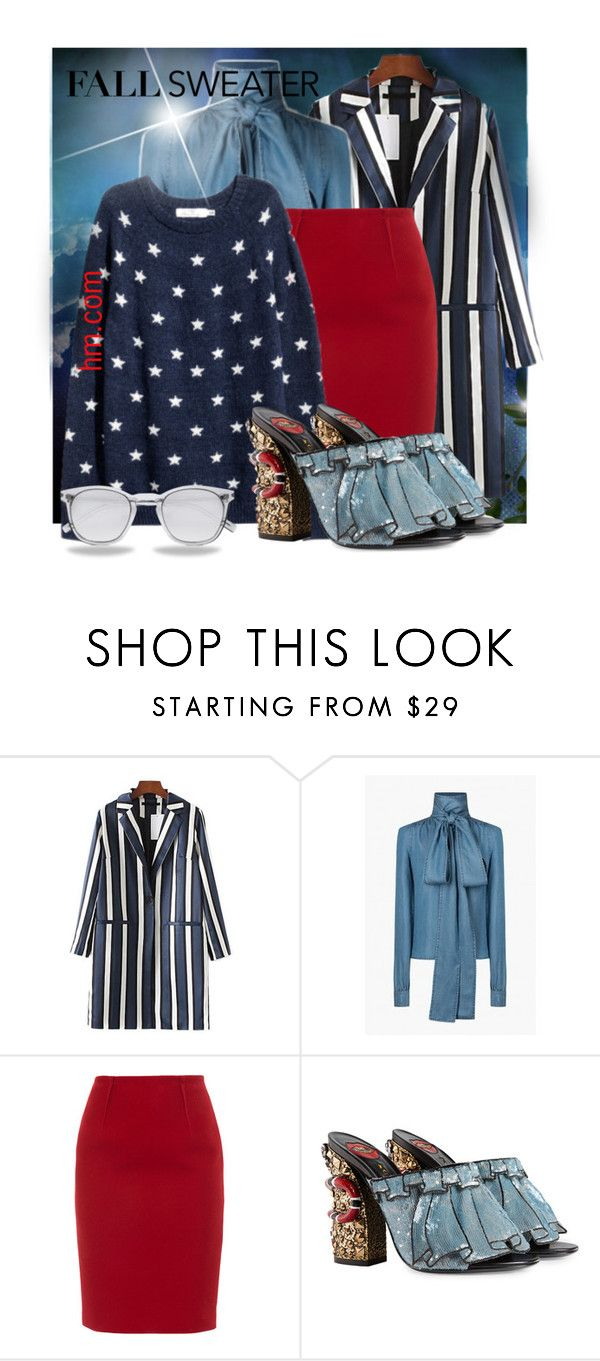 """""""Stars & Stripes"""" by interesting-times ❤ liked on Polyvore featuring Chicnova Fashion, Paule Ka, Gucci, Yves Saint Laurent and fallsweaters"""