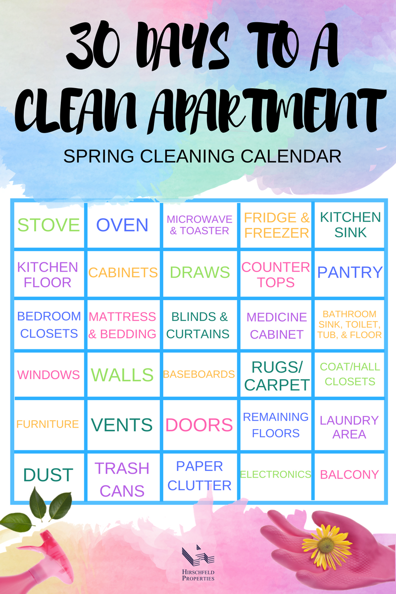 Preparing To Spring Clean Your Apartment 8 Quick Tips Spring Cleaning Spring Cleaning Calendar Apartment Cleaning
