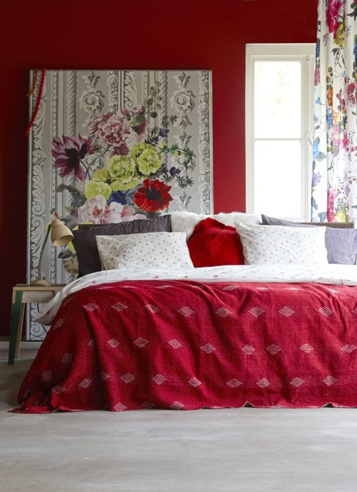 Great bedroom | decorate your home | Rot weiss und Rot