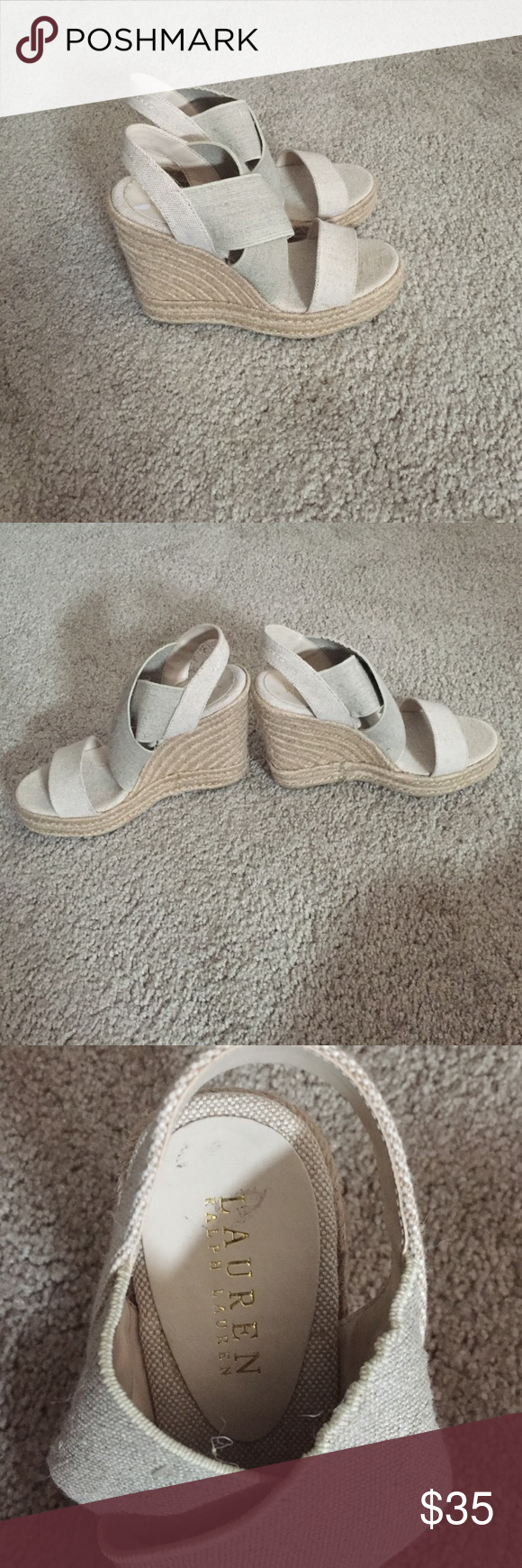 Ralph Lauren Nude Wedges Size 7 1/2 Never worn, Ralph Lauren wedges. 5 Inches Tall Ralph Lauren Shoes Wedges