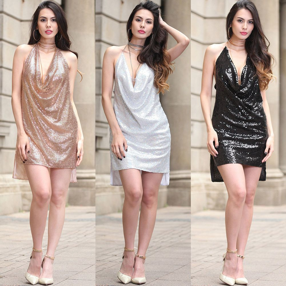 Womens halter sequin glitter mini short night club evening cocktail