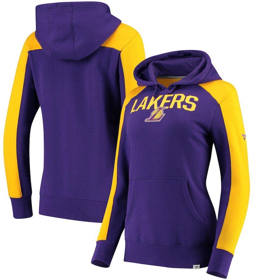 58b4cf9b6e5 Women s Los Angeles Lakers Fanatics Branded Purple Gold Iconic Fleece Hoodie