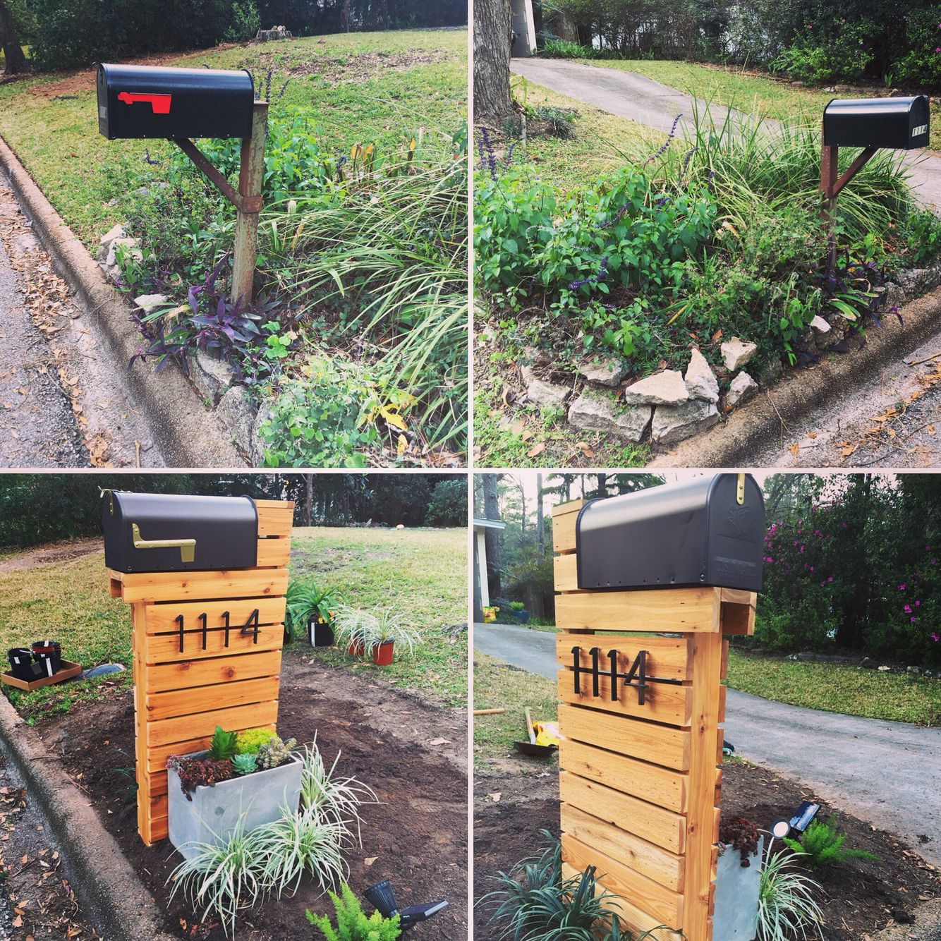 before and nearly after pictures of our mailbox area