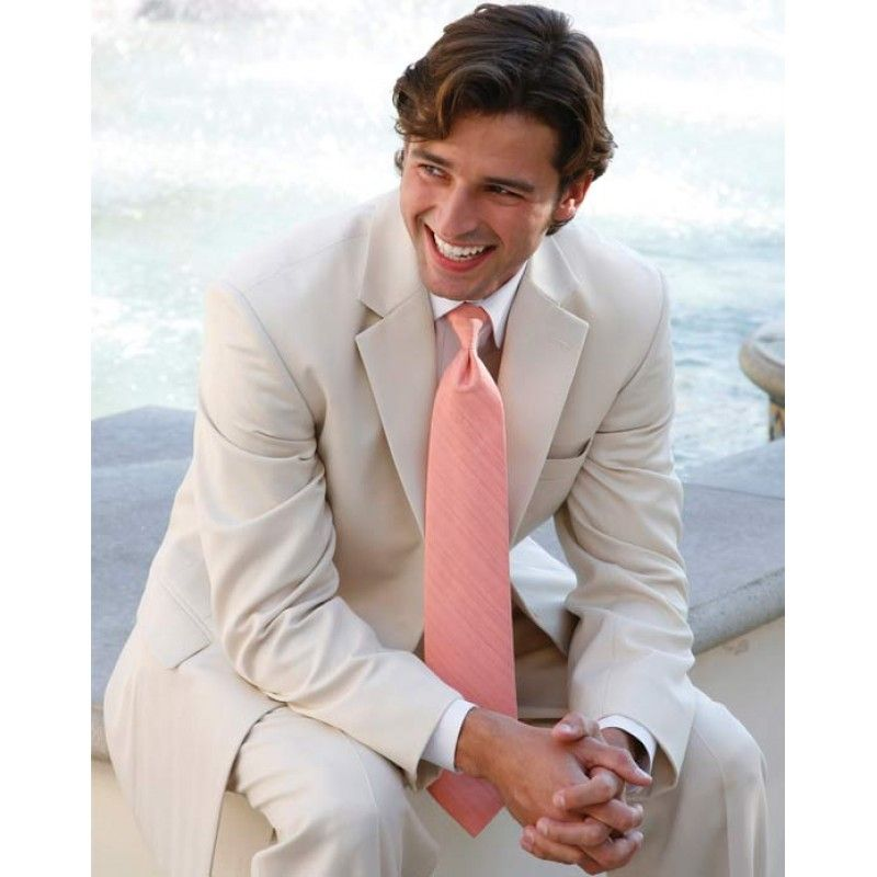 Tan tuxedos with pink pearl or champagne for the groomsman! @Abigail ...