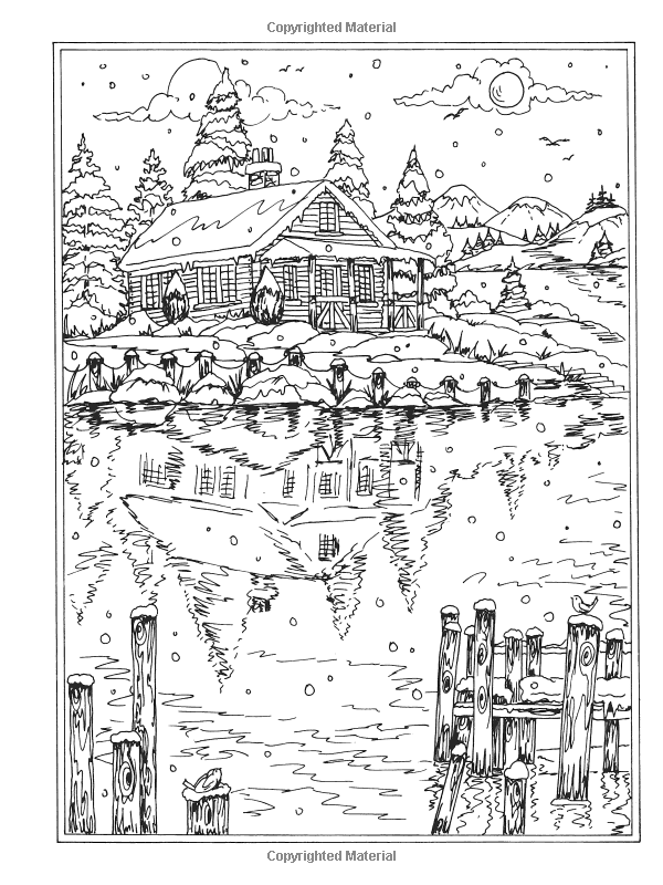ausmalbilder f erwachsene winterlandschaften