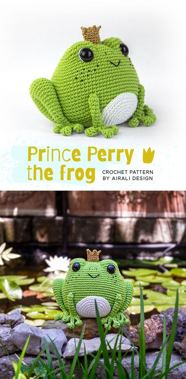 Prince Perry the Amigurumi Frog - PDF crochet pattern by Airali design #crochetbearpatterns