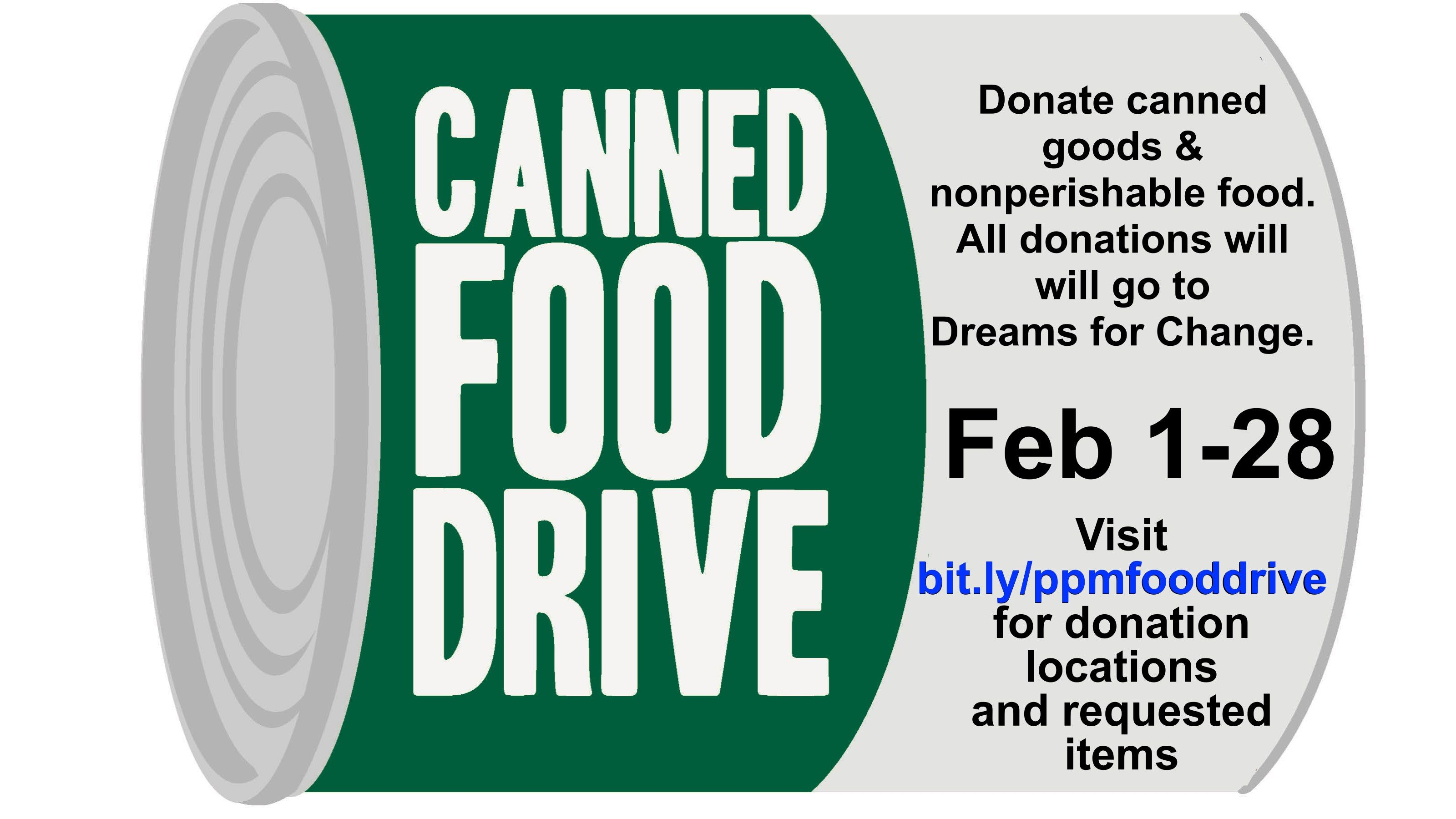 Canned Items And Non Perishable Food Drive To Benefit Dreams For Change Food Drive Flyer Canned Food Drive Food Drive