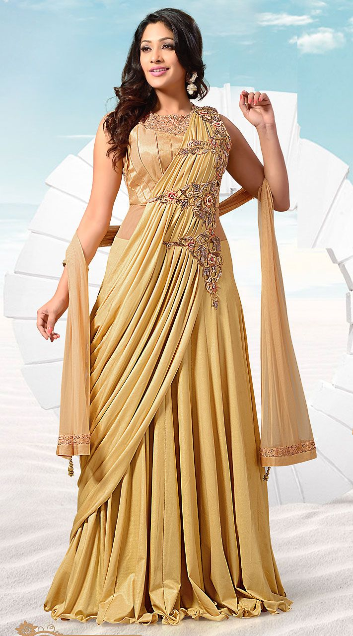 a743e1612bf Trendy Dark Cream Shimmer Ready Made Indowestern Gown