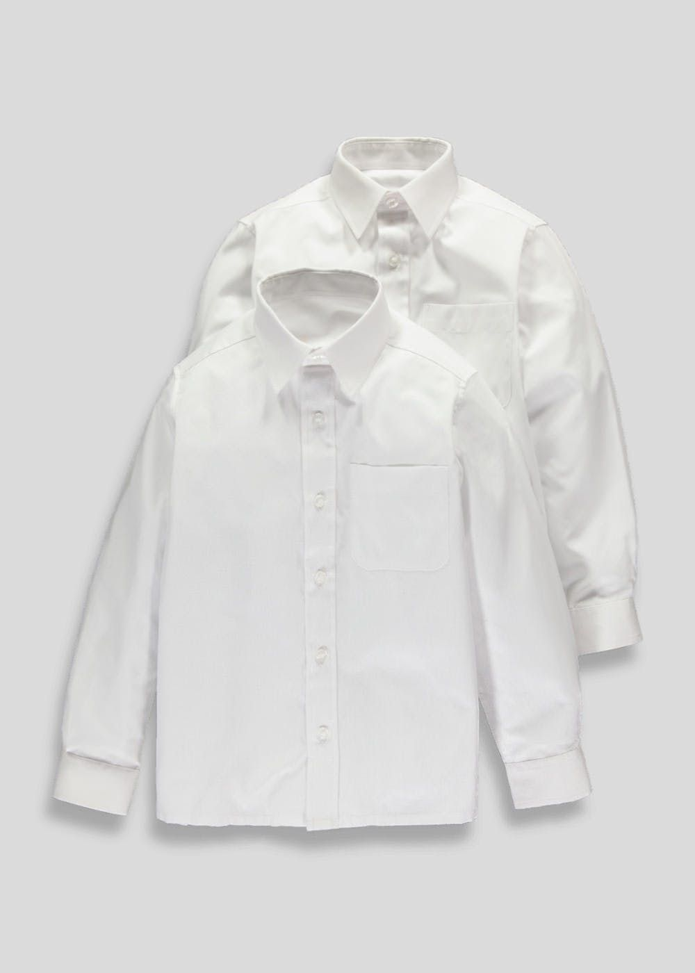543c9c329 This 2 pack of boys white long sleeve school shirts feature a touch close  (up to 7 years only) and button front fastening with lasting comfort and ...