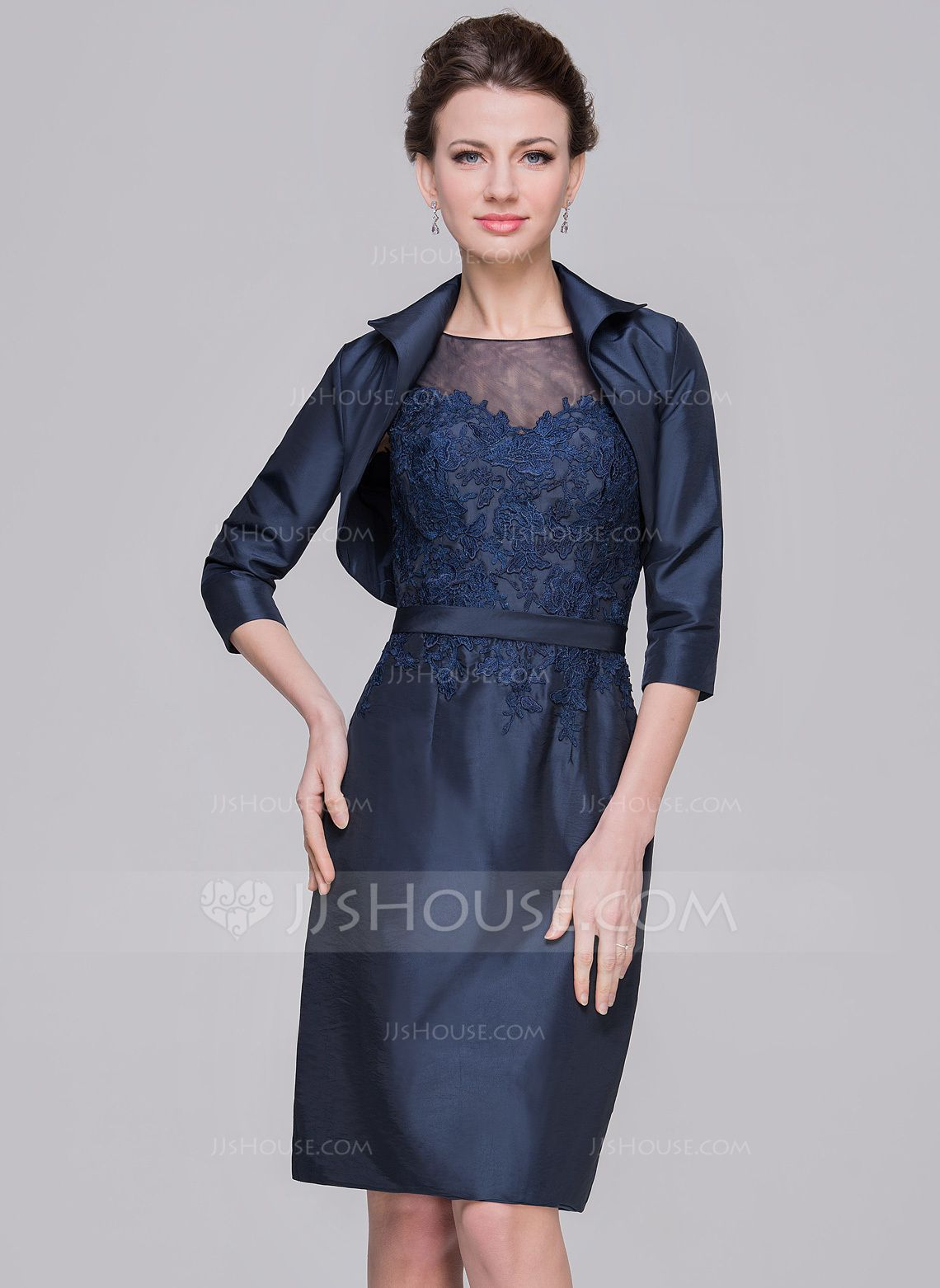 SheathColumn Scoop Neck KneeLength Taffeta Mother of the Bride