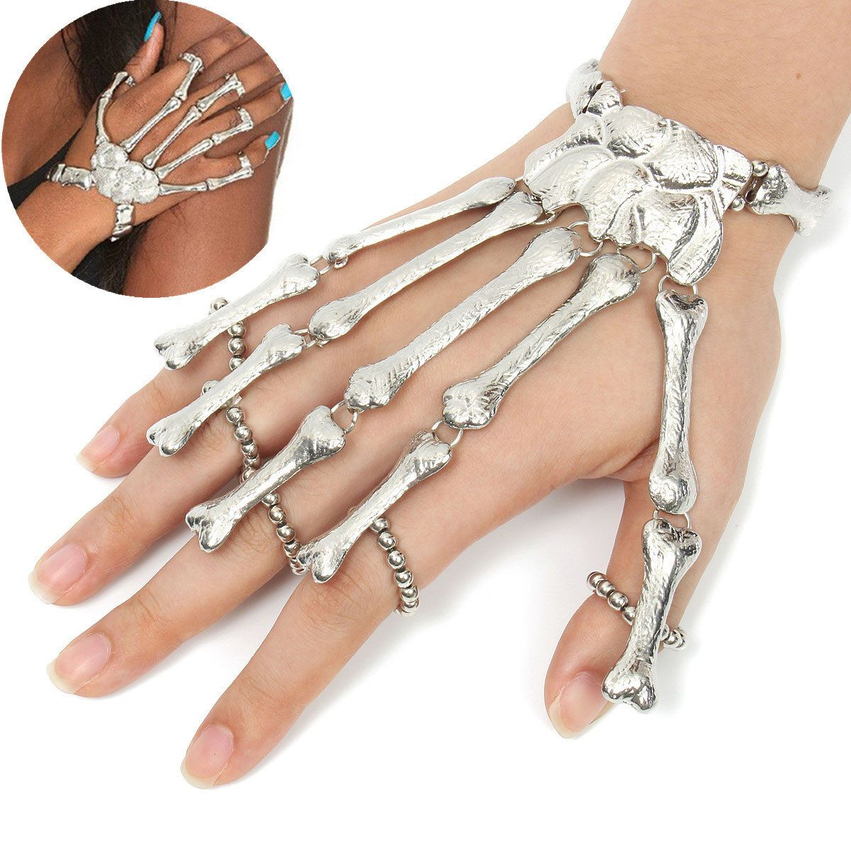 Silver tide skeleton skull bone hand joint finger bracelet women