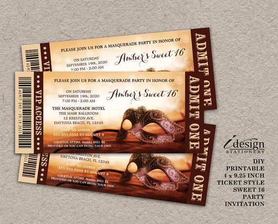 Masquerade Sweet 16 Ticket Invitation | Printable Mardi Gras Themed ...