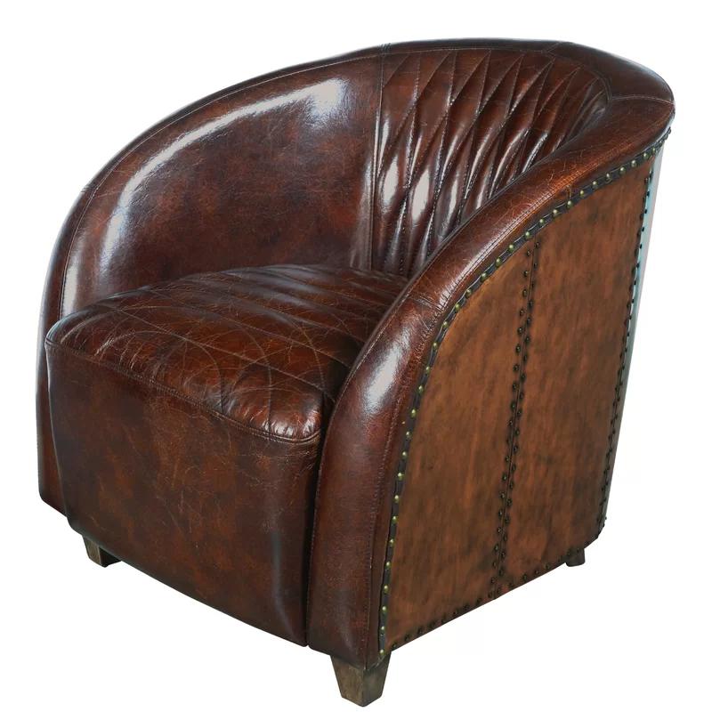 Sheldon 29 Wide Tufted Genuine Leather Top Grain Leather Club Chair Club Chairs Leather Club Chairs Barrel Chair Leather club chairs for sale