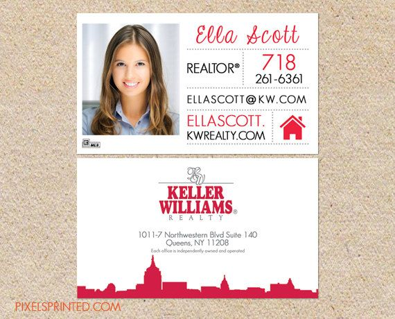 keller williams realtor business cards thick color both
