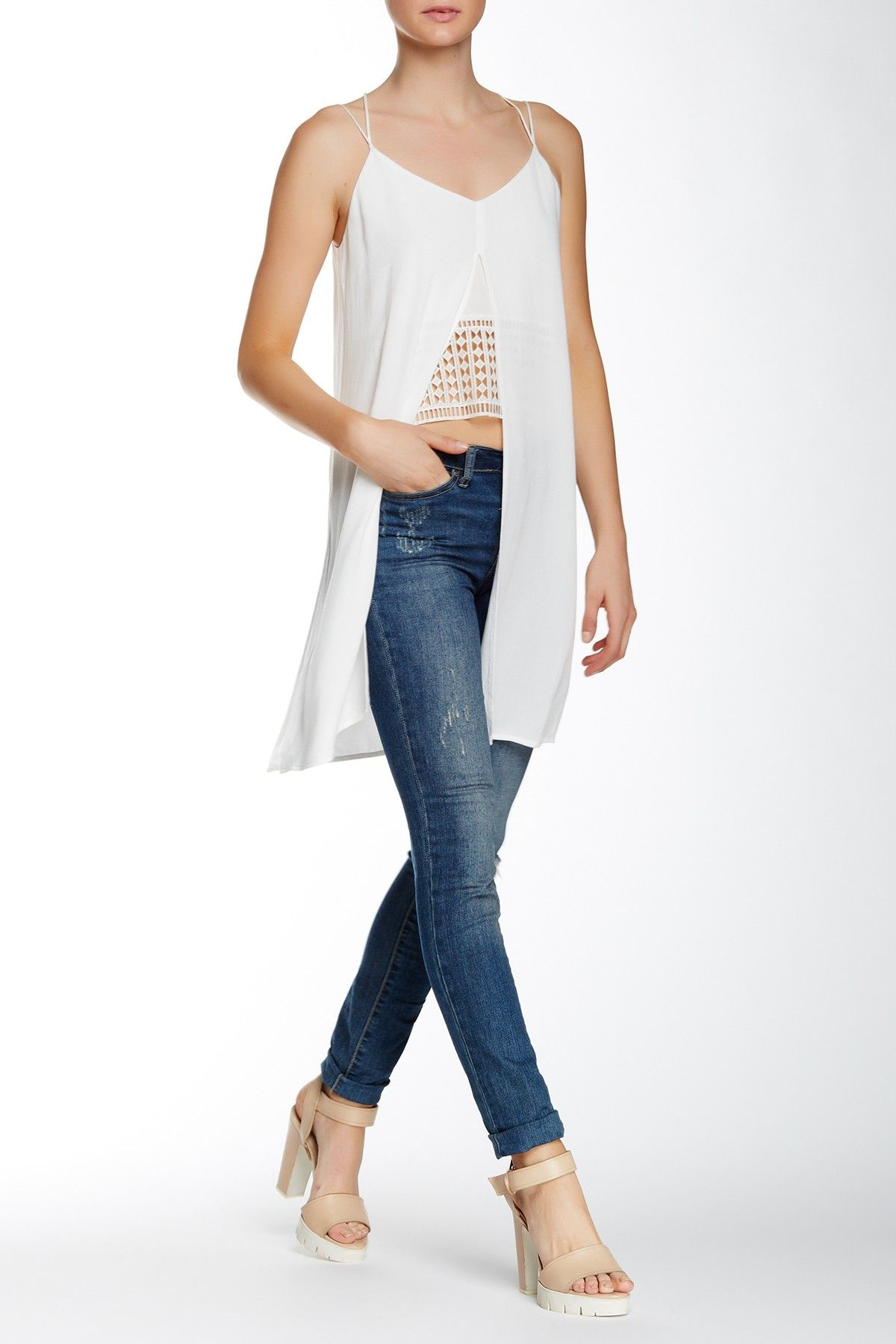 Peek-A-Boo Crochet Inset Long Tank by OnTwelfth on @HauteLook