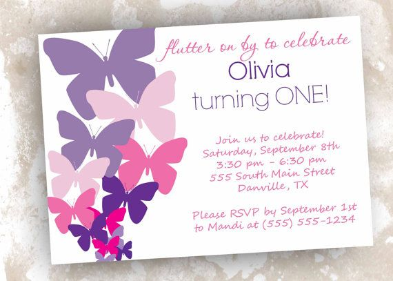 Butterfly Invitations Printable Or Digital File Birthday Baby Shower Baptism Personalized