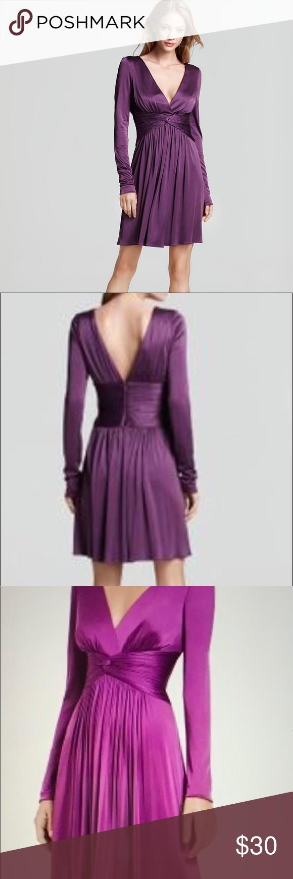 Sale Bcbgmaxazria Purple Long Sleeve V Neck Dress Dresses V Neck Dress Clothes Design [ 1740 x 580 Pixel ]