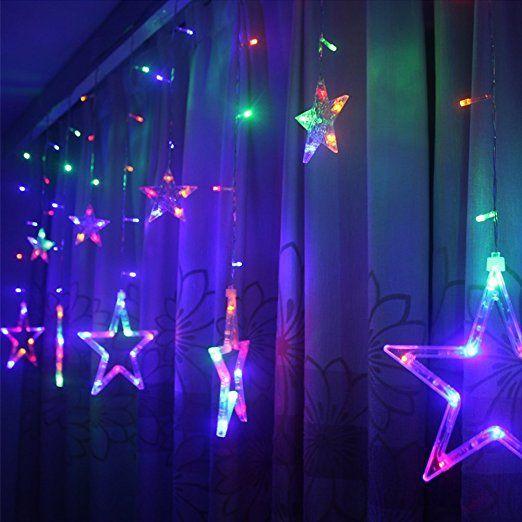 led sternenvorhang mit 138leds fenster licht deko lichterkette fee weihnachten party festen. Black Bedroom Furniture Sets. Home Design Ideas