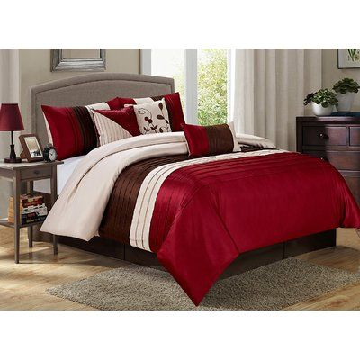 Homechoice International Group Eden 7 Piece Comforter Set Color Burgundy