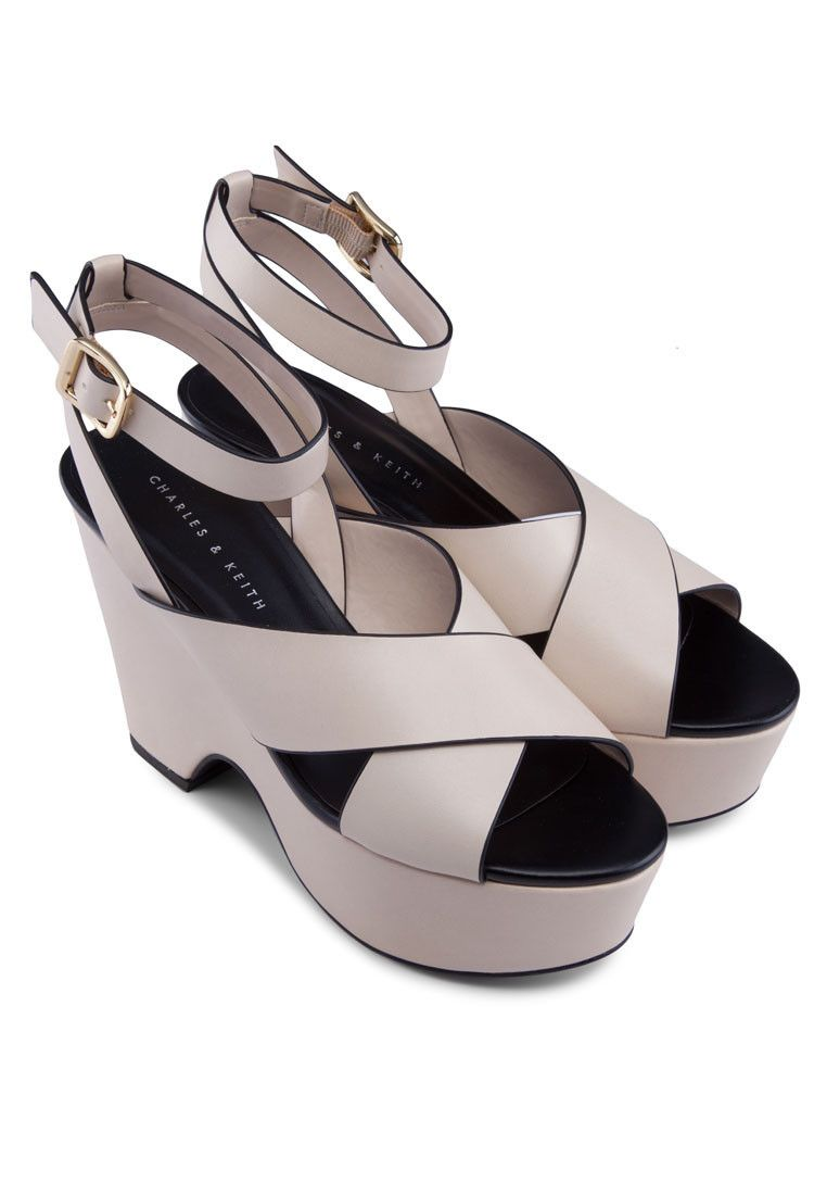2738832c66d6 CHARLES   KEITH Beige Open-Toed Ankle Strap Platform Sandals 露趾踝帶厚底涼鞋