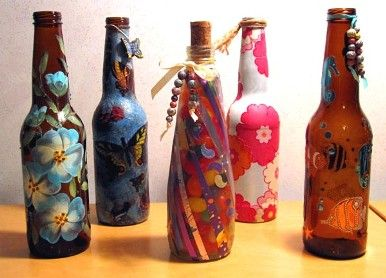 Glass Bottle Decoration Crafting With Glass  Crafts  Recycled Water Bottle Crafts