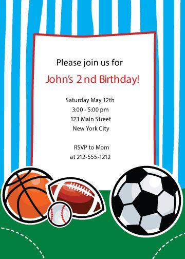 sports themed birthday party invitation sports theme birthday