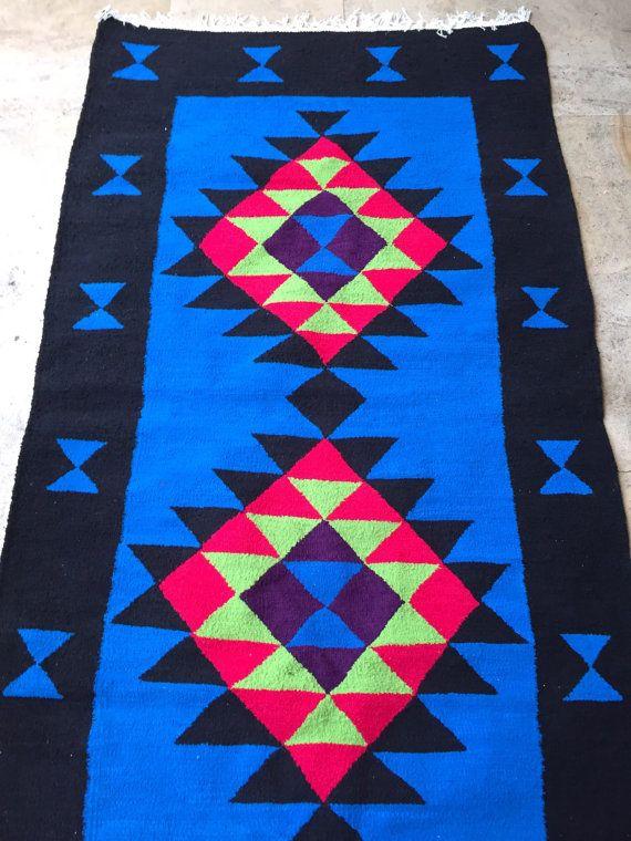Berber carpet ethnic blue black pink neon kilim rug Tunisian - store bois tisse exterieur