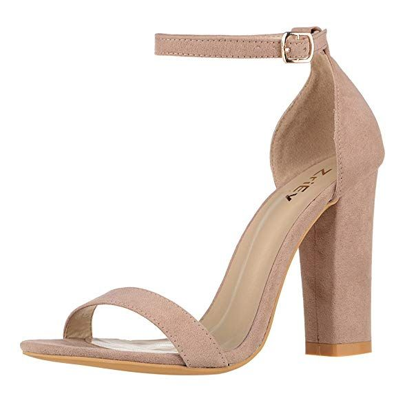 cb18726c86e ZriEy Women s Chunky Block Strappy High Heel Pump Sandals Fashion Ankle  Strap Open Toe Shoes